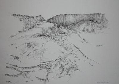 Z 619 | Landschaft mit Felswand | 1998 | Feder, Tusche auf-Bütten | 512x707