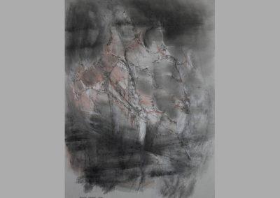 Z 671 | Formen und Linien | 2002 | Mischtechnik auf grauem Papier | 700x500