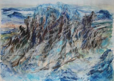 Z 694 | Felsen-Wasser | 2008 | Aquarell, Kreide auf Bütten | 585x800