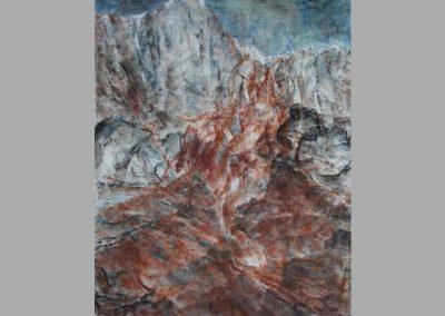 Z 708 | Rotes Gestein | 2009 | Aquarell, Kreide auf Japanbütten | 675x520